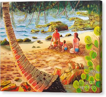 Family Day At Jobos Beach Canvas Print by Milagros Palmieri