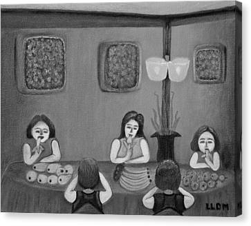 Family Dinner Bw Canvas Print by Lorna Maza