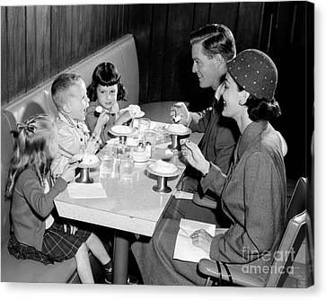 Family Eating Ice Cream Canvas Print