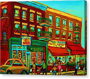 St.viateur Bagel Canvas Print - Family Frolic On St.viateur Street by Carole Spandau