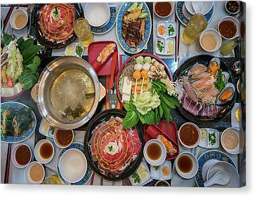 Family Marty With Sukiyaki Seafood And Beef Shabu Canvas Print by Anek Suwannaphoom