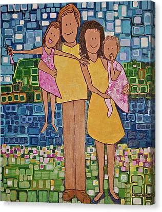 Canvas Print featuring the painting Family Of 4 by Donna Howard