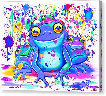 Canvas Print - Family Of Painted Frogs by Nick Gustafson