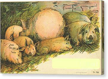 Family Of Pigs Canvas Print by Artist from the past