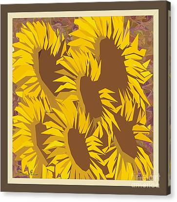 Abstract Digital Canvas Print - Family Of Sunflowers by Michael Mirijan