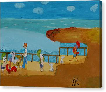 Family Outing To The Beach Canvas Print