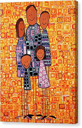 Canvas Print featuring the painting Family Portrait by Donna Howard