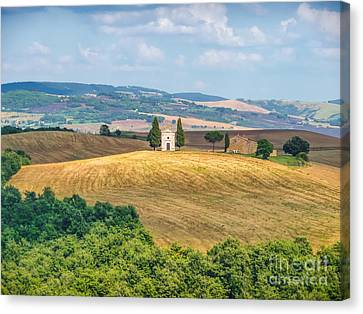 Famous Chapel On Tuscan Hills Canvas Print by JR Photography