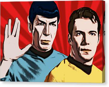 Famous Spock And Kirk Canvas Print by Tobias Woelki