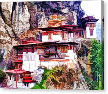 Architecture Canvas Print - Famous Tigers Nest Monastery Of Bhutan 1 by Lanjee Chee
