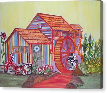 Fanasty Waterwheel Canvas Print by Connie Valasco