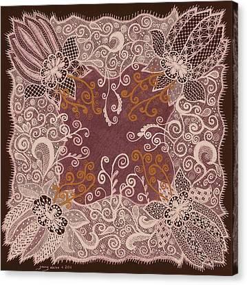 Fancy Antique Lace Hankie Canvas Print by Jenny Elaine