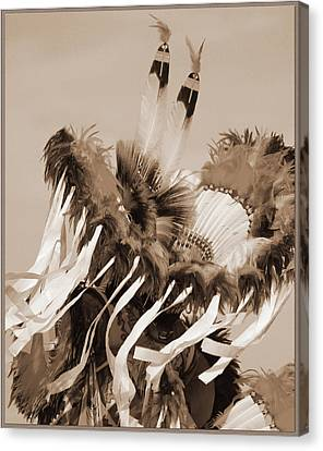 Canvas Print featuring the photograph Fancy Dancer In Sepia by Heidi Hermes