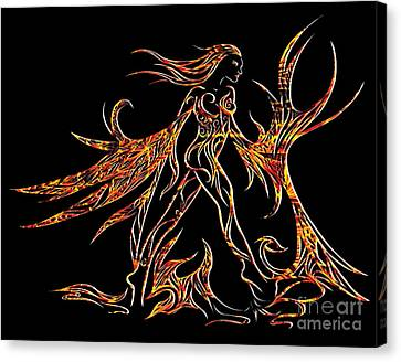 Canvas Print featuring the drawing Fancy Flight On Fire by Jamie Lynn