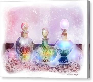 Fancy Perfume Bottles Canvas Print by Arline Wagner