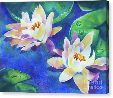 Canvas Print featuring the painting Fancy Waterlilies by Kathy Braud