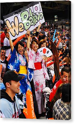 San Diego California Baseball Stadiums Canvas Print - Fans Of Japan by James Kirkikis
