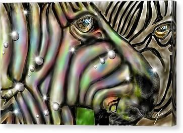 Canvas Print featuring the digital art Fantastic Zebra by Darren Cannell