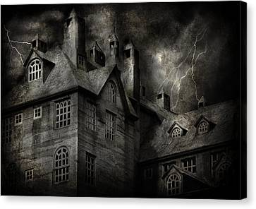 Fantasy - Haunted - It Was A Dark And Stormy Night Canvas Print by Mike Savad
