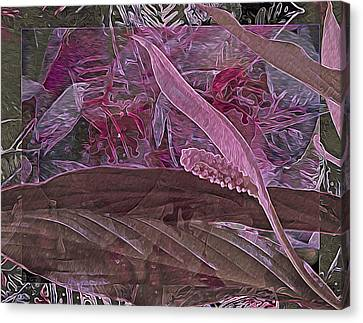 Fantasy African Violets And Peace Lily Pink, Red And Pink Canvas Print by Lynda Lehmann