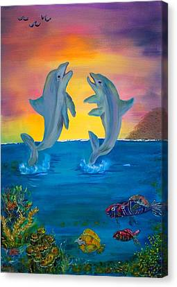 Fantasy Dolphins Canvas Print by Mikki Alhart