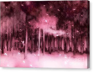 Fantasy Fairytale Pink Mauve Woodlands Trees Nature - Fairytale Woodlands Forest Canvas Print by Kathy Fornal