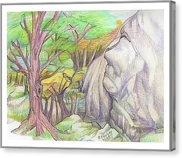 Fantasy Forest Rock Canvas Print by Ruth Renshaw