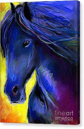 Fantasy Friesian Horse Painting Print Canvas Print by Svetlana Novikova