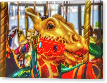 Fantasy Giraffe Carrousel Ride Canvas Print by Garry Gay