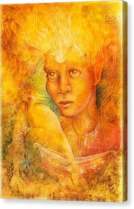 Fantasy Golden Light Fairy Spirit With Two Phoenix Birds  Canvas Print