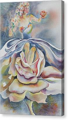 Canvas Print featuring the painting Fantasy Rose by Mary Haley-Rocks