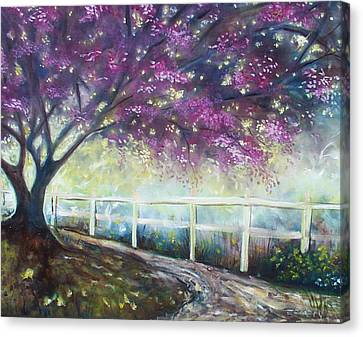 Canvas Print featuring the painting Fantasy Tree by Emery Franklin