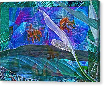 Fantasy With African Violets And Peace Lily 42 Canvas Print by Lynda Lehmann