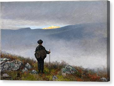 Far Far Away Soria Moria Palace Shimmered Like Gold Canvas Print by Theodor Kittelsen