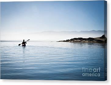 Faraway Kayaker In Morro Bay Canvas Print by Bill Brennan - Printscapes