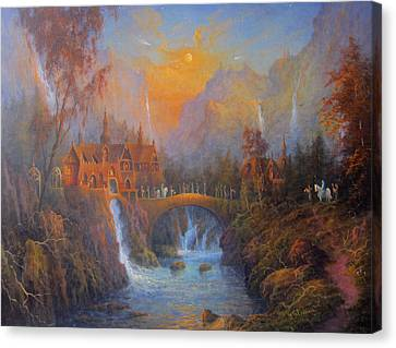 Farewell To Rivendell The Passing Of The Elves Canvas Print by Joe  Gilronan