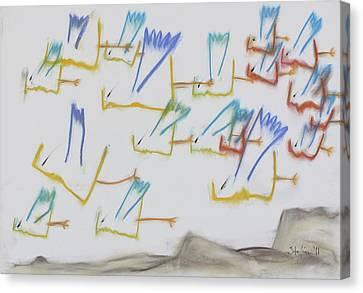 Canvas Print featuring the pastel Farfuglar Yfir Landi by Stefan Hermannsson