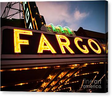 Fargo Theatre Sign At Night Picture Canvas Print by Paul Velgos