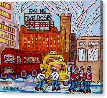 Farine Five Roses Montreal 375 Hometown Hockey Hotel Bonaventure Tour Bus Canadian Art C Spandau Art Canvas Print by Carole Spandau