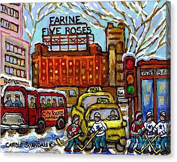 Farine Five Roses Sign Downtown Montreal Scenes Street Hockey Game Canadian Art Carole Spandau       Canvas Print by Carole Spandau
