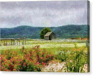 Farm - Barn - Out In The Country  Canvas Print by Mike Savad