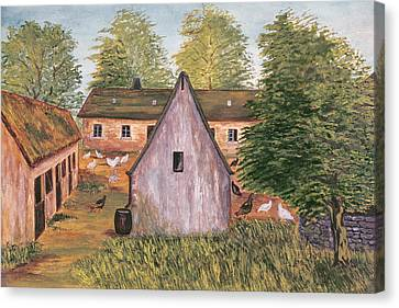 Farm And Farmyard In France Canvas Print by French School