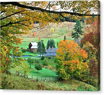 Farm And Fence Vermont Canvas Print