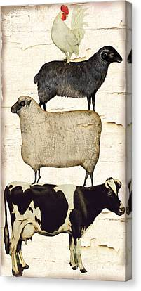 Farm Animals Pileup Canvas Print by Mindy Sommers