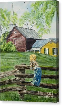 Split Rail Fence Canvas Print - Farm Boy by Charlotte Blanchard