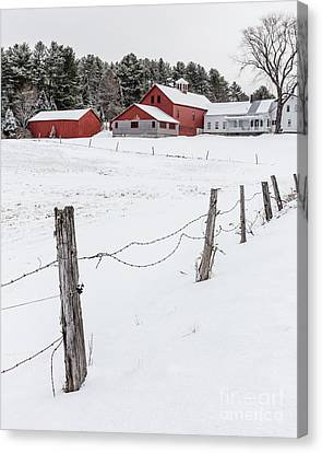 Farm Buildings In Winter Canvas Print by Edward Fielding