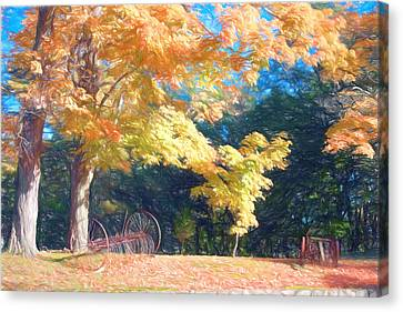 Farm Equipment Under Fall Colors Canvas Print by Jeff Folger