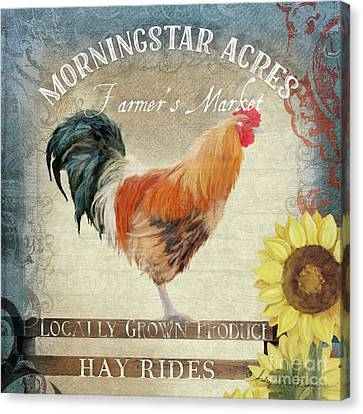 Canvas Print featuring the painting Farm Fresh Barnyard Rooster Morning Sunflower Rustic by Audrey Jeanne Roberts