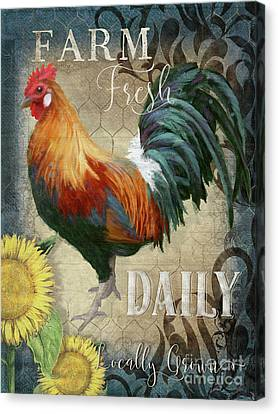 Canvas Print featuring the painting Farm Fresh Daily Red Rooster Sunflower Farmhouse Chic by Audrey Jeanne Roberts
