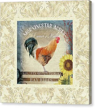 Canvas Print featuring the painting Farm Fresh Damask Barnyard Rooster Sunflower Square by Audrey Jeanne Roberts